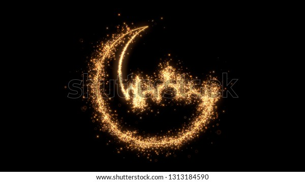 Shining sparkles creating ramadan hilal with mosque that can be used as a nice abstract background with your logo or title. Abstract golden crescent.