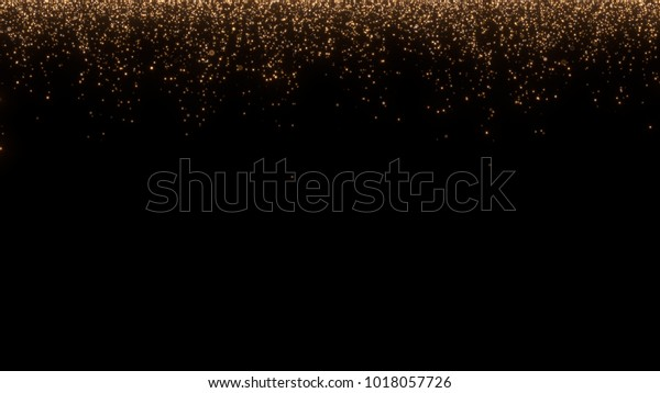 Shining sparkles lines/curtain with bokeh crossing the screen can be used as a background to your logo or title. Abstract golden dust particles.