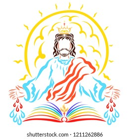 The shining sun behind the blessing Lord Jesus, the book, the crown and the drops