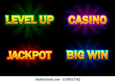 Shining text Casino, Jackpot, Big Win and level Up. Icons for casino, slots, roulette and game UI. Similar JPG copy