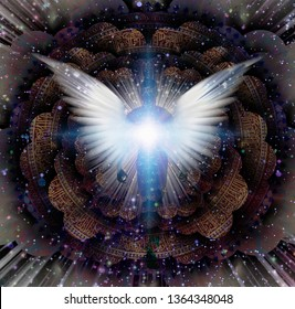 Shining wings and man's aura in a center of Indian mandala. Multi-layered spaces representing endless dimensions. 3D rendering