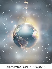shining world floating in space with abstract bokeh effect. 3D image.