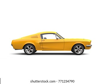 Shining yellow American vintage muscle car - side view - 3D Illustration