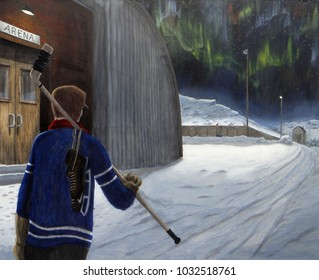 A shinny player walks towards an outdoor rink on a cold Canadian night carrying his stick and skates.  Northern lights shine in the sky.