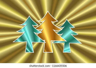 shiny 3d christmas trees on golden glow background