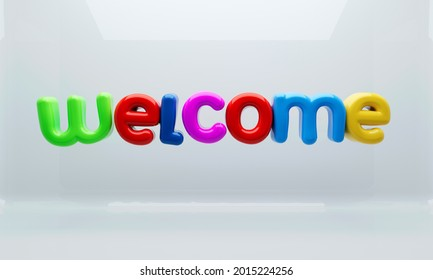 Shiny 3D illustration of colorful Welcome sign over glossy white background.