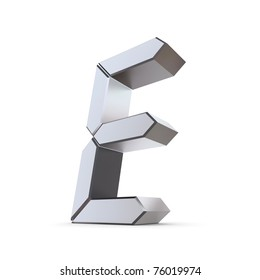 shiny 3d letter E made of silver/chrome - LCD look