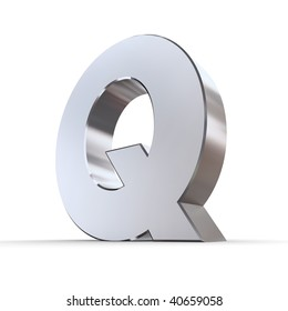 shiny 3d letter Q made of solid silver/chrome
