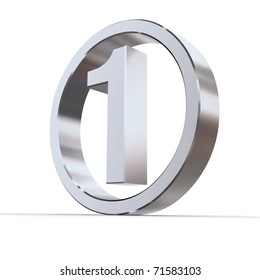 shiny 3d number 1 made of silver/chrome in a metallic circle