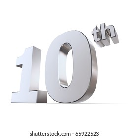 shiny 3d number 10th made of silver/chrome - tin or aluminum wedding anniversary