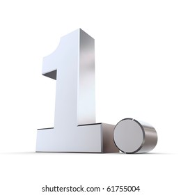 shiny 3d number 1st made of silver/chrome - 1. with round dot