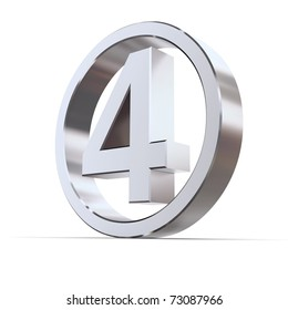 shiny 3d number 4 made of silver/chrome in a metallic circle