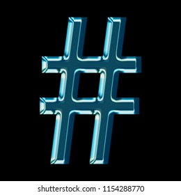 Shiny blue glass hashtag social media icon or pound sign symbol in a 3D illustration with a shining reflective blue color metallic glass surface & bold font on a black background with clipping path