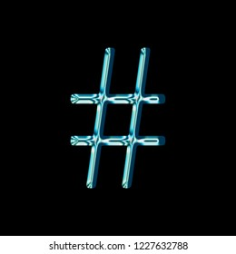 Shiny blue glass hashtag social media icon or pound sign symbol 3D illustration with a shining reflective blue color metallic glass antique bookletter font on a black background with clipping path