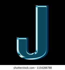 Shiny blue glass letter J in a 3D illustration with a shining reflective blue color metallic glass surface & bold font isolated on a black background with clipping path