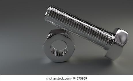 shiny bolt and nut