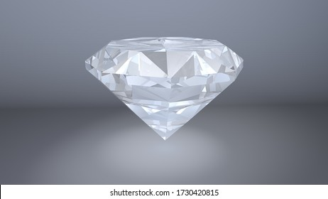 Shiny brilliant diamond  placed on gray background. 3D render