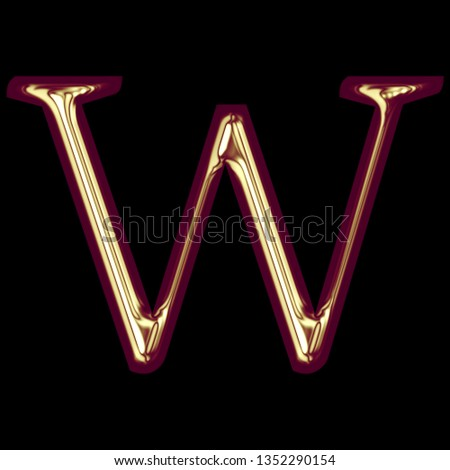 a5836d4b4 Shiny colorful golden red letter W in a 3D illustration with a glossy gold  red color