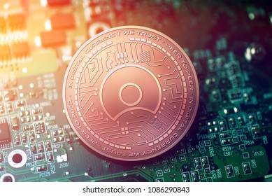 shiny copper SIMPLE TOKEN cryptocurrency coin on blurry motherboard background