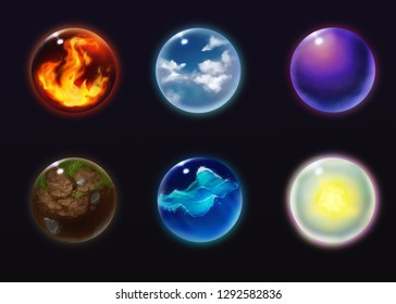 Shiny crystal orbs with symbols of nature elements, fire,air, magic,earth, water and light. Witchcraft paranormal future prediction balls. Gypsy fortune-telling magical sphere.
