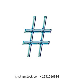 Shiny dark blue glass hashtag social media icon or pound sign symbol in a 3D illustration with a shining beveled edge highlight and blue glow in a libertine type font on white with clipping path