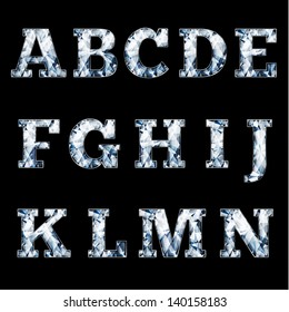 Shiny diamond alphabet letters (uppercase)- raster version