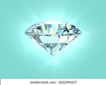 Shiny diamond on tiffany blue background. Close-up side view, 3D rendering illustration