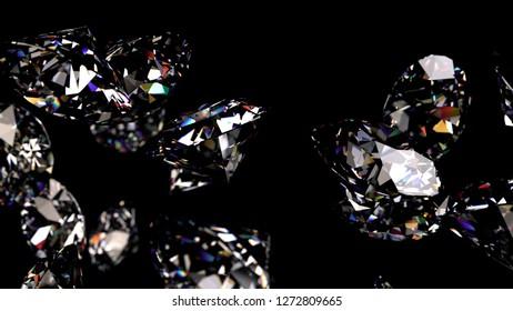 Shiny Diamonds falling on black surface background. 3D CG. High resolution.