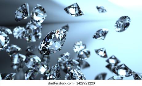 Shiny Diamonds falling on black-blue lighting background. 3D illustration. 3D CG. High resolution.