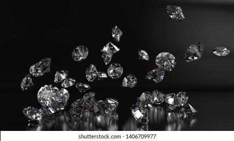 Shiny Diamonds falling on black-white surface background. 3D CG. High resolution.