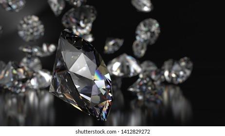Shiny Diamonds falling on metallic black surface background. 3D illustration. 3D CG. High resolution.