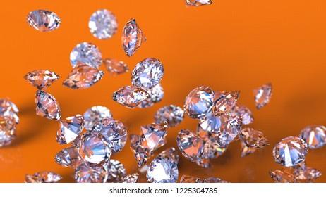 Shiny Diamonds falling on orange surface background. 3D illustration. 3D CG. High resolution.