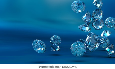 Shiny Diamonds falling on pink surface background. 3D illustration. 3D CG. High resolution.