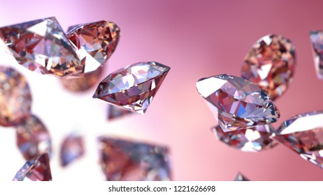 Shiny Diamonds falling on red surface background. 3D illustration. 3D CG. High resolution.