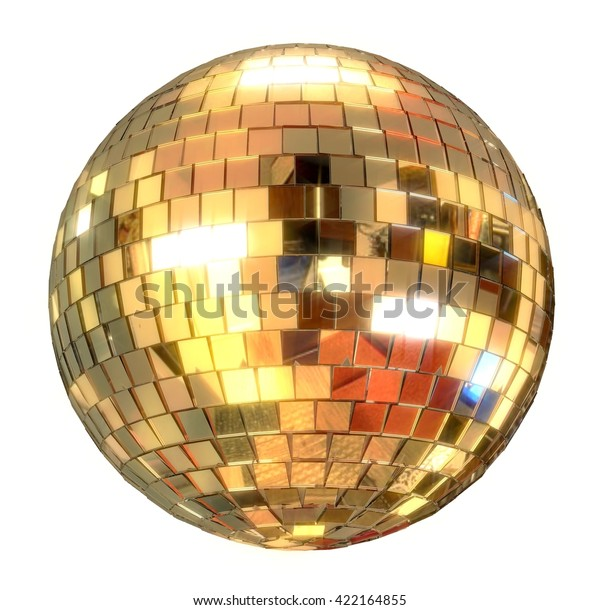 shiny disco ball. 3D render. reflective mirror ball in golden tints. Isolated on white background.