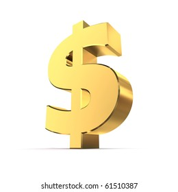 shiny dollar symbol in a yellow golden look