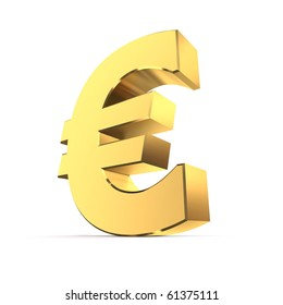 shiny euro symbol in a yellow golden look