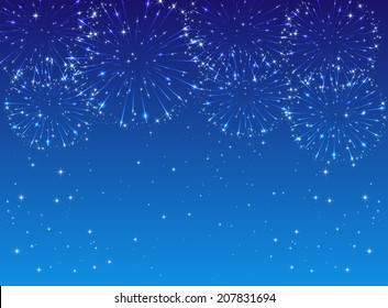 Shiny fireworks with stars on blue background, illustration.