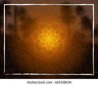 Shiny floral mandala on sunset tropic blurred background. Indian sacred geometry. For yoga studio, tantra or meditation classes and retreat. Banner, flyer, invitation.