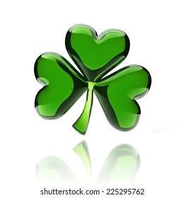 shiny glass clover 3d icon