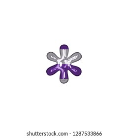 Shiny glass purple and white stripe asterisk or star shape symbol in a 3D illustration with a purple striped pattern glossy plastic effect in an antique bookletter font on white with clipping path