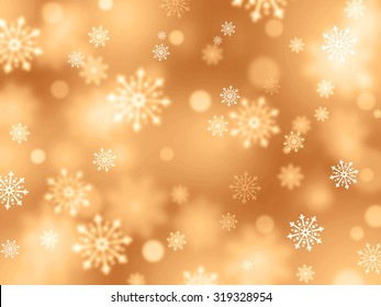 Shiny gold background with snowflakes raining down