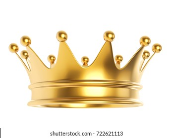 Shiny gold crown isolated on white background. 3D rendering.
