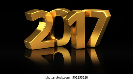 Shiny gold digits of year 2017 on black background. 3D illustration