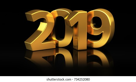 Shiny gold digits of year 2019 on black background. 3D illustration