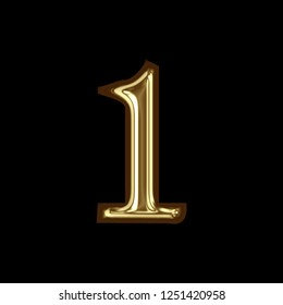 Shiny gold metal number one 1 in a 3D illustration with a glossy golden color metallic surface finish with a glass effect in a rough edge font on a black background