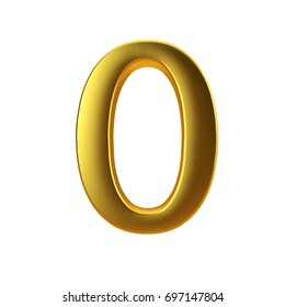 Shiny gold number 0 on a plain white background. 3D Rendering