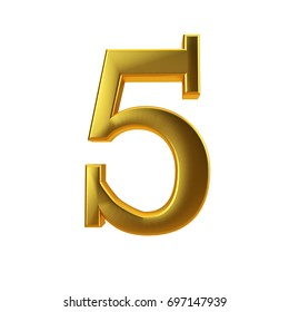 Shiny gold number 5 on a plain white background. 3D Rendering