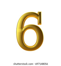 Shiny gold number 6 on a plain white background. 3D Rendering