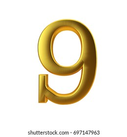 Shiny gold number 9 on a plain white background. 3D Rendering